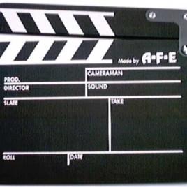 Filmklappe mittel schwarz aus Holz Clapperboard