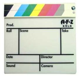 Filmklappe Farbig klein Gegenlicht Kunststoff