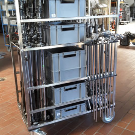 Stativ Wagen mit 6 Kästen – filmequipment cart – mit Lufträder